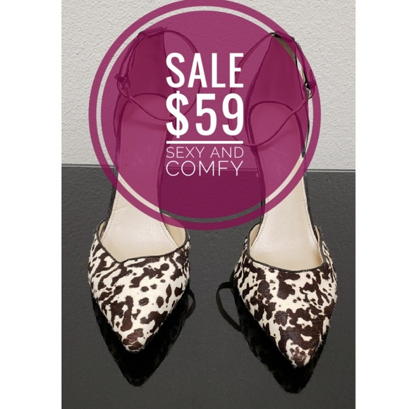 b9bc6c6c899 Marc Fisher Cow Print/Ankle Strap Heels